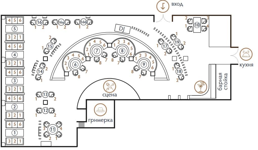 Схема рассадки в foros hall